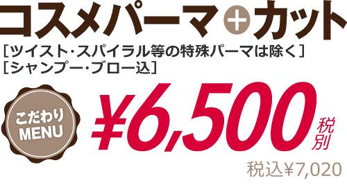 コスメパーマ+カット6500円